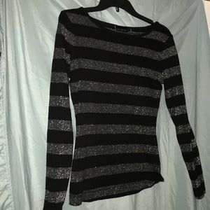 black and silver striped top The Limited
